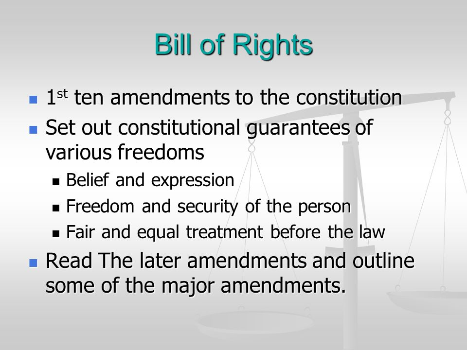 Bill of Rights 1st ten amendments to the constitution
