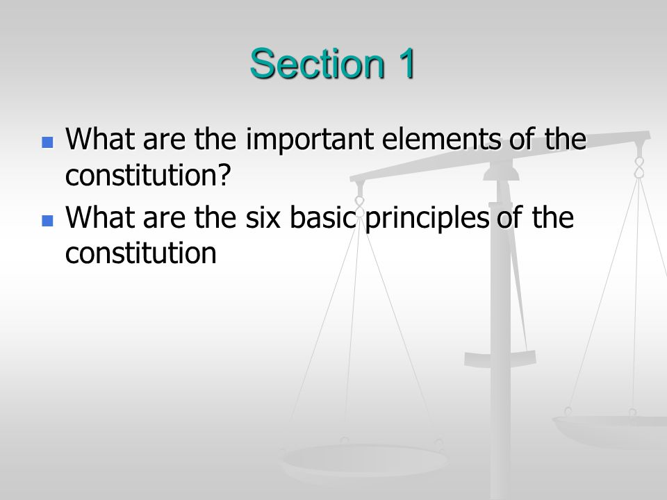 Section 1 What are the important elements of the constitution