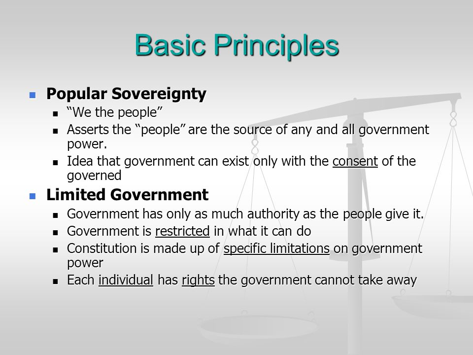 Basic Principles Popular Sovereignty Limited Government