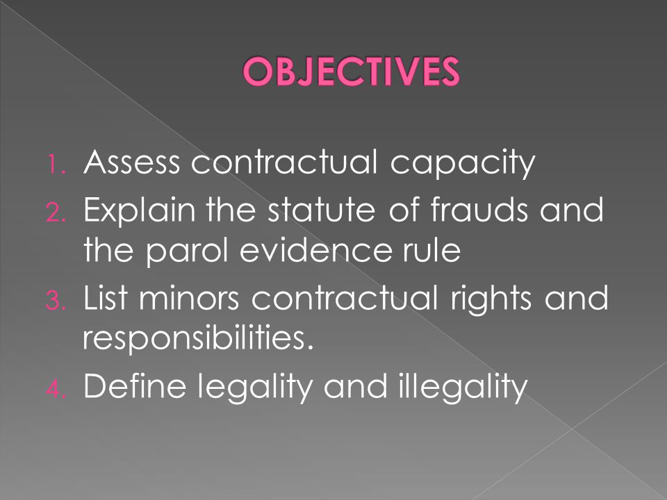 OBJECTIVES Assess contractual capacity