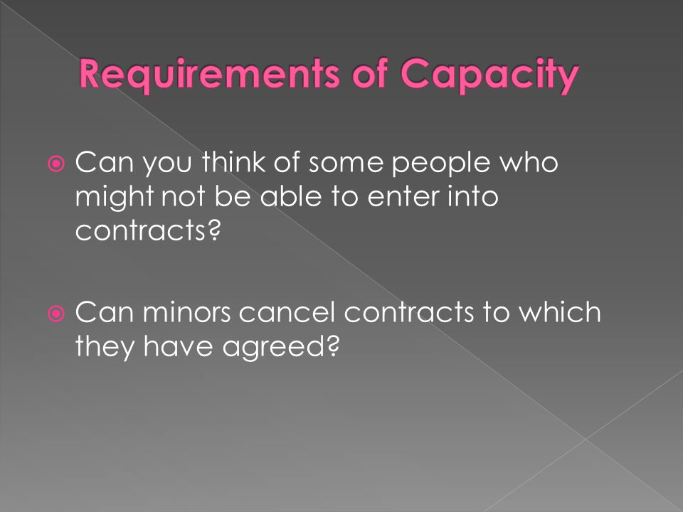 Requirements of Capacity