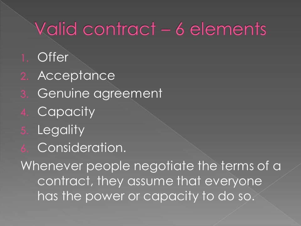 Valid contract – 6 elements