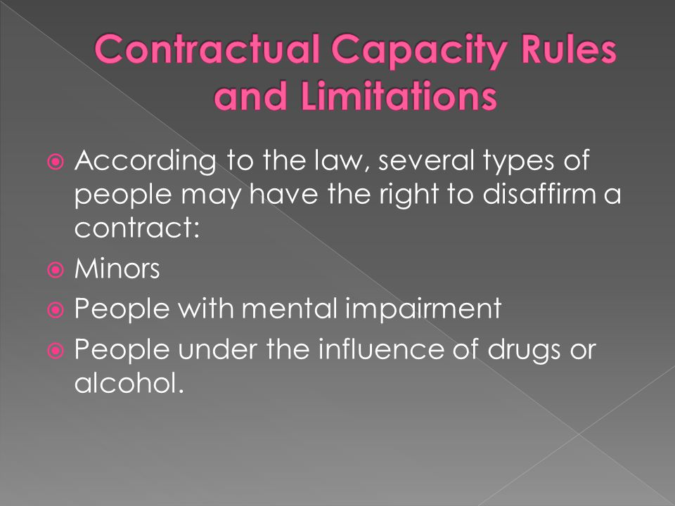 Contractual Capacity Rules and Limitations