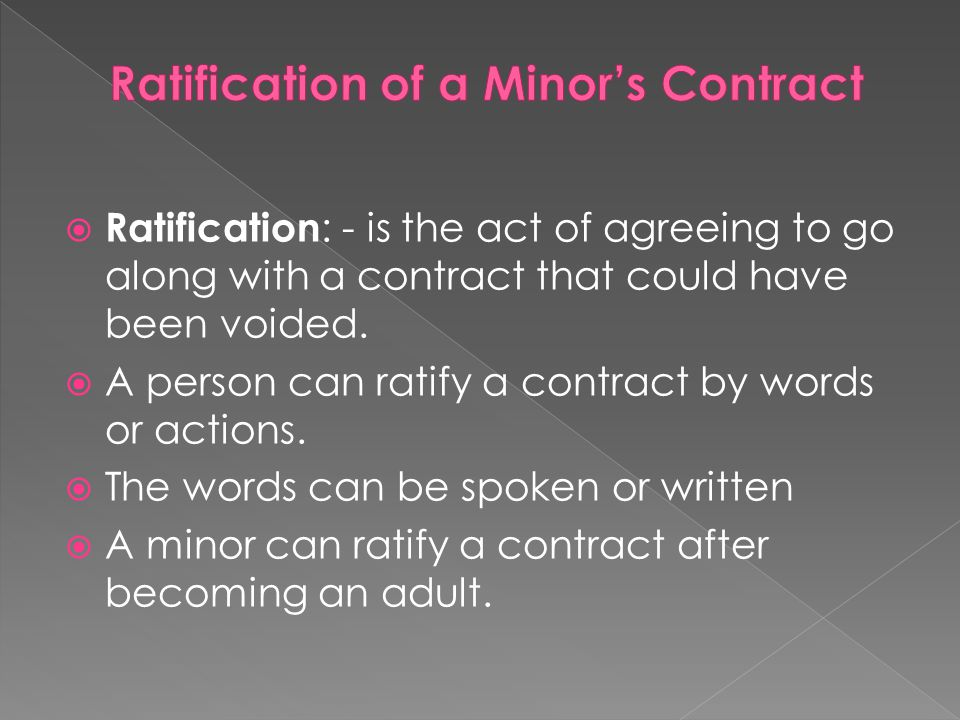 Ratification of a Minor's Contract