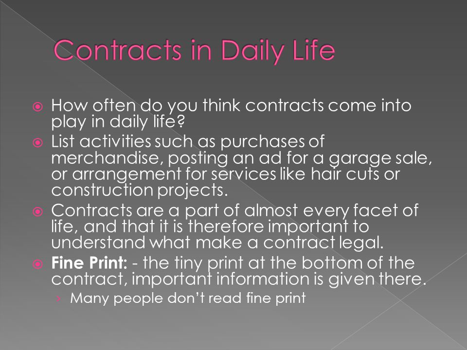 Contracts in Daily Life