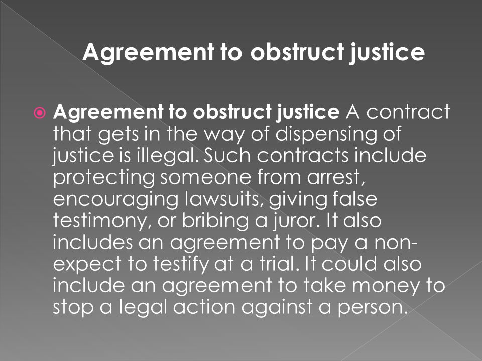 Agreement to obstruct justice