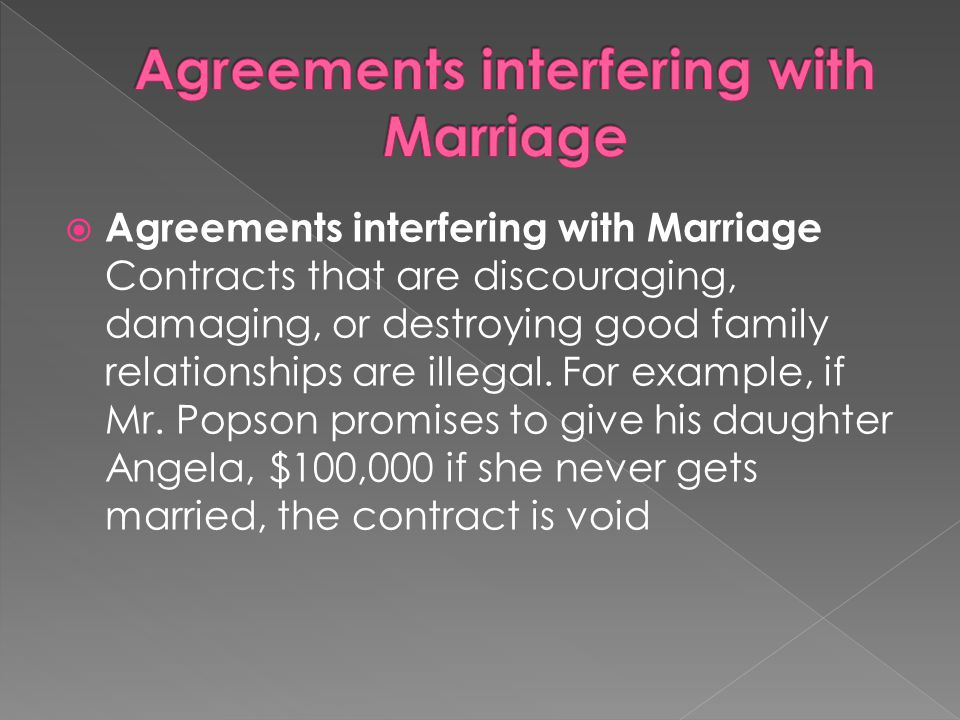 Agreements interfering with Marriage