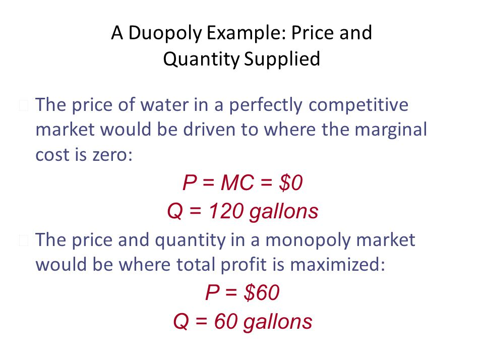 A Duopoly Example: Price and Quantity Supplied