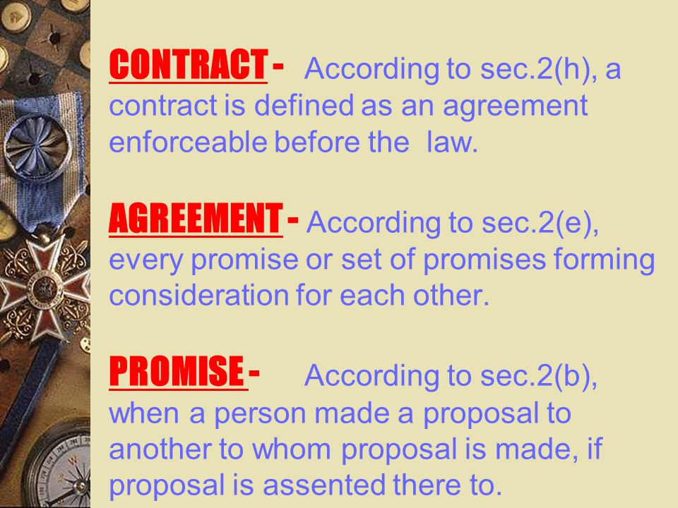 CONTRACT - According to sec