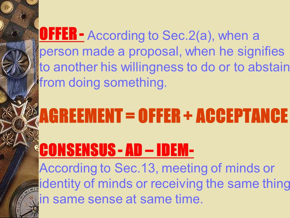 OFFER - According to Sec