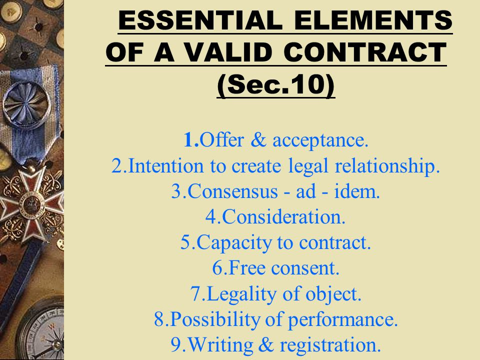 ... 3 Essential Elements Of A Valid Contract A Valid Contract Is A Written  Or As The ...
