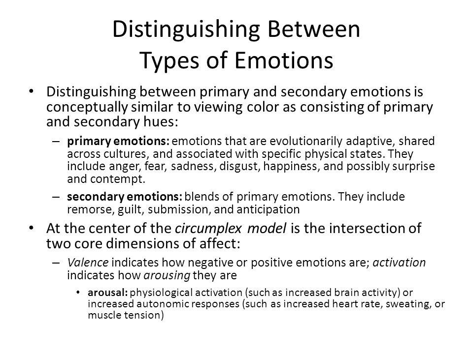 Distinguishing Between Types of Emotions