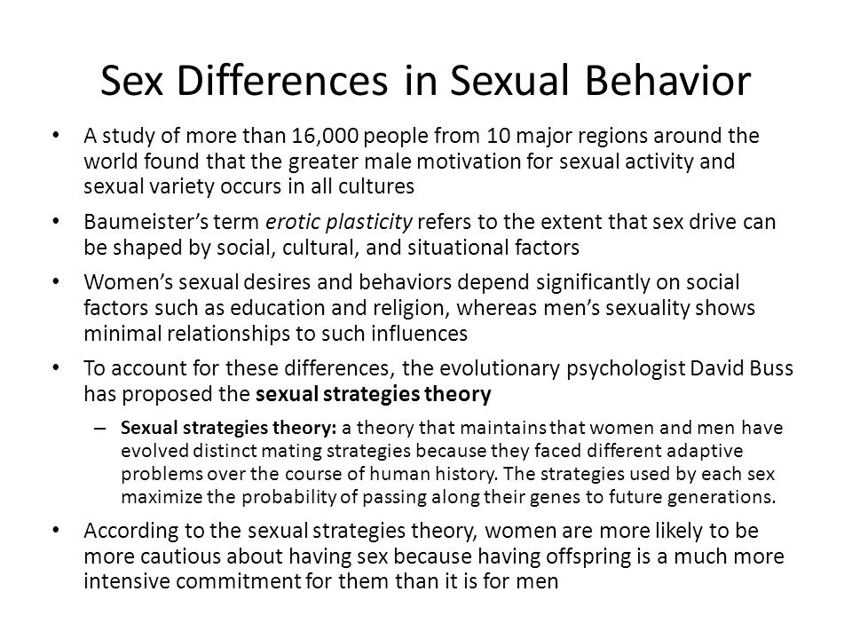 Sex Differences in Sexual Behavior