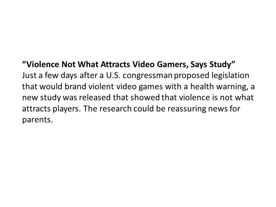 Violence Not What Attracts Video Gamers, Says Study