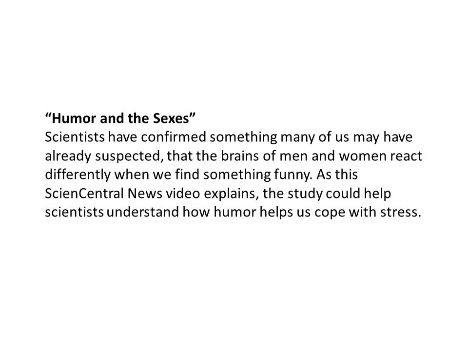 Humor and the Sexes