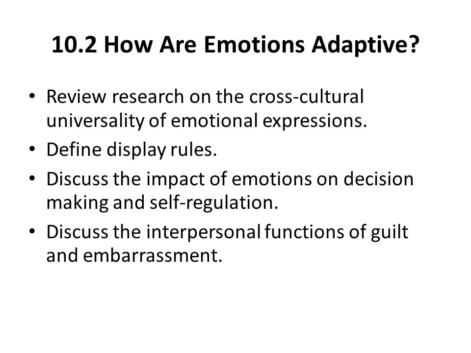 10.2 How Are Emotions Adaptive