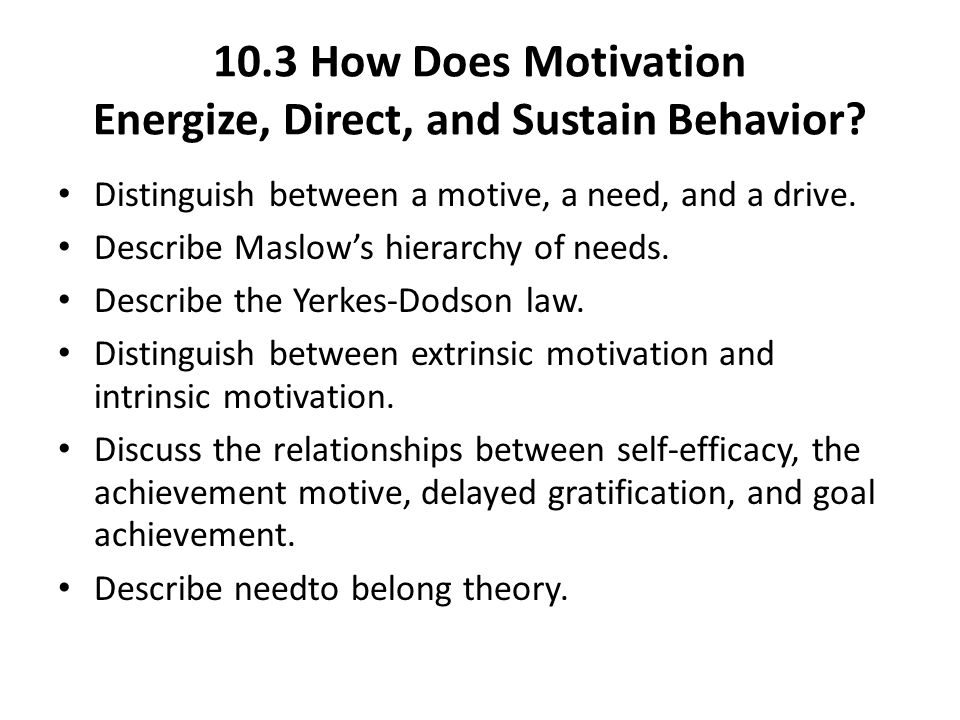 10.3 How Does Motivation Energize, Direct, and Sustain Behavior