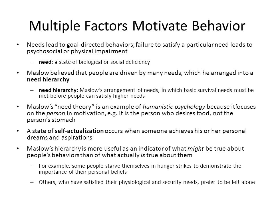 Multiple Factors Motivate Behavior