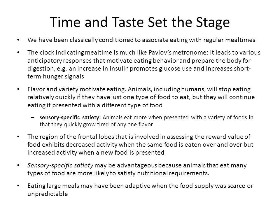 Time and Taste Set the Stage