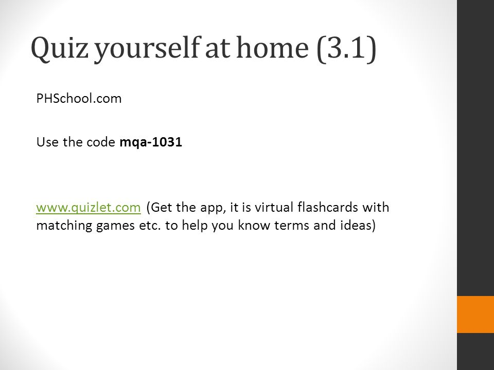 Quiz yourself at home (3.1)