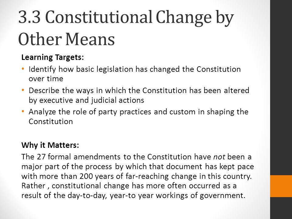 3.3 Constitutional Change by Other Means