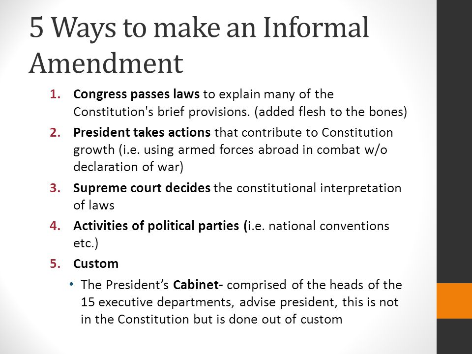 5 Ways to make an Informal Amendment