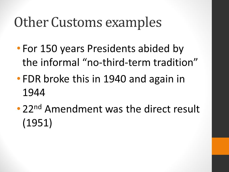 Other Customs examples