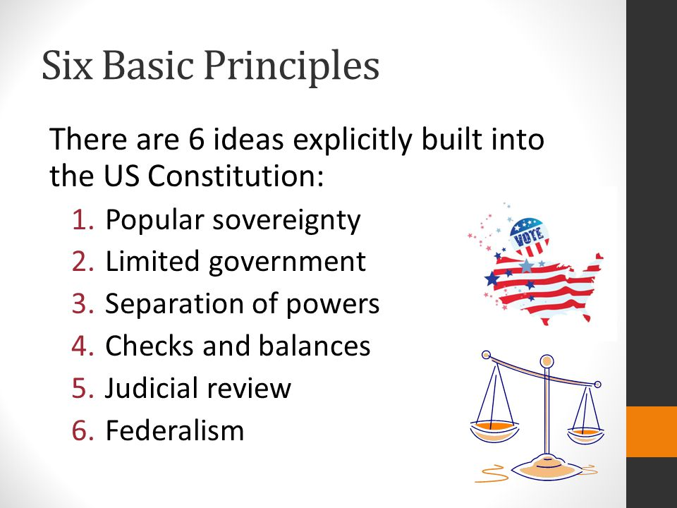 Six Basic Principles There are 6 ideas explicitly built into the US Constitution: Popular sovereignty.