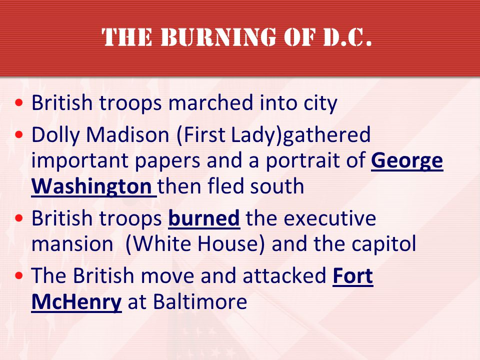 The Burning of D.C. British troops marched into city