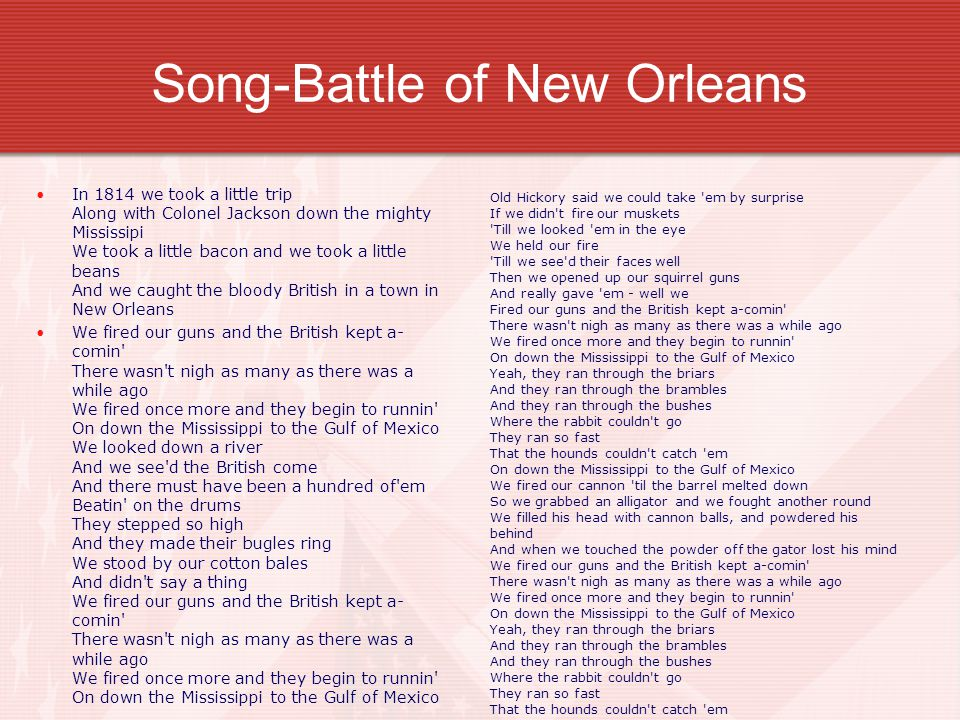 Song-Battle of New Orleans