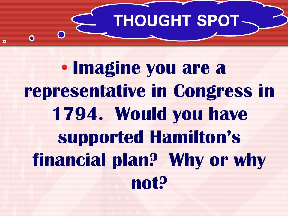 THOUGHT SPOT Imagine you are a representative in Congress in 1794.