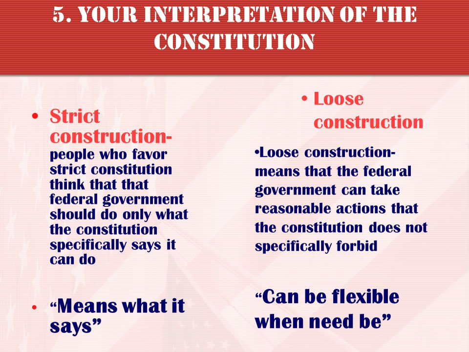 5. Your Interpretation of the Constitution