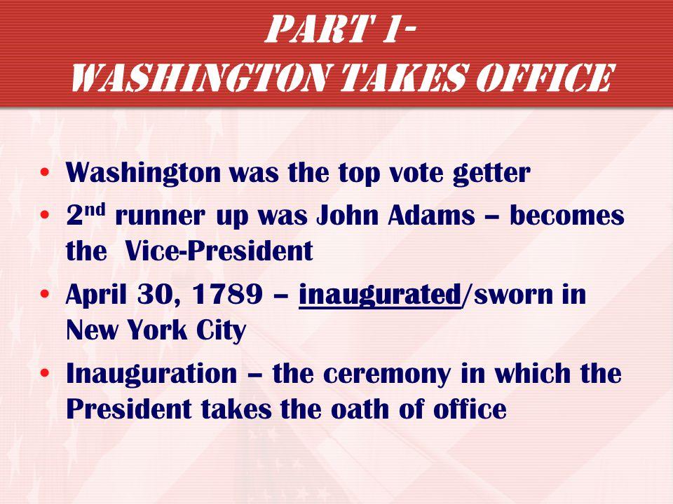Part 1- Washington Takes Office