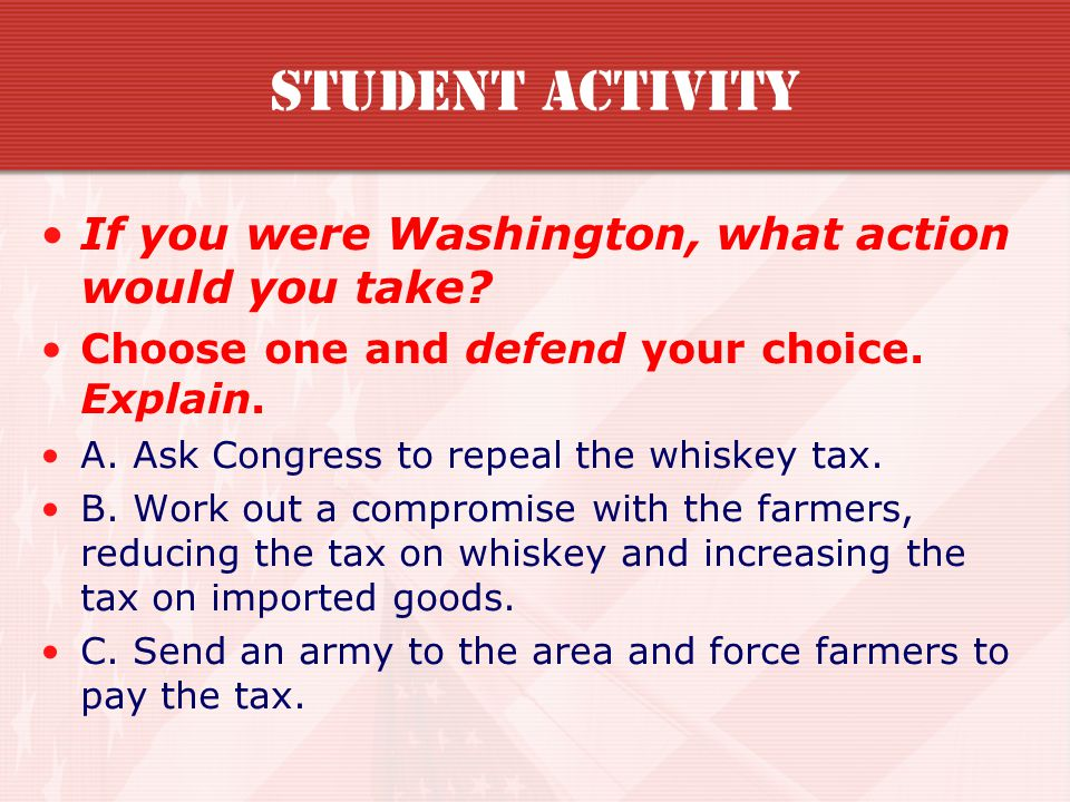 Student Activity If you were Washington, what action would you take