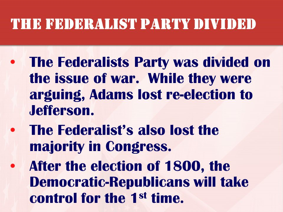 The Federalist Party Divided
