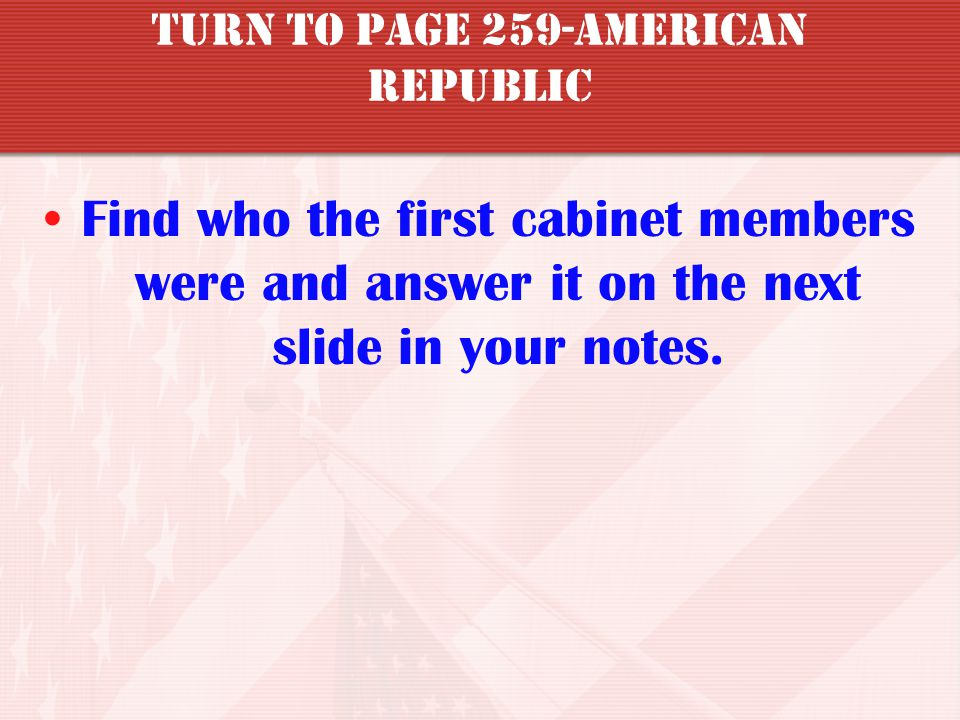 Turn to page 259-American republic