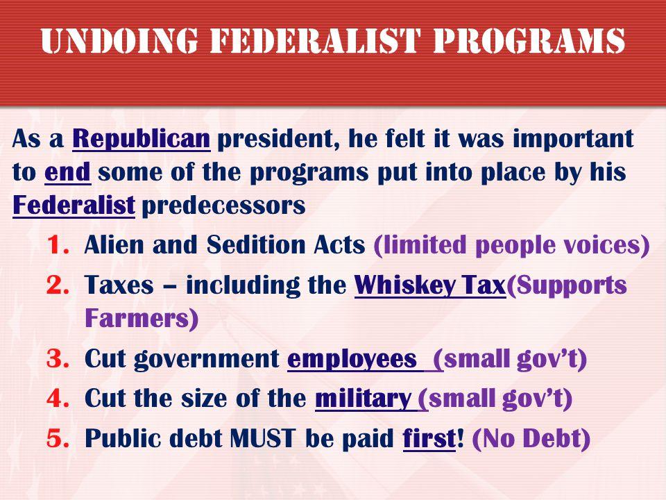 Undoing Federalist Programs