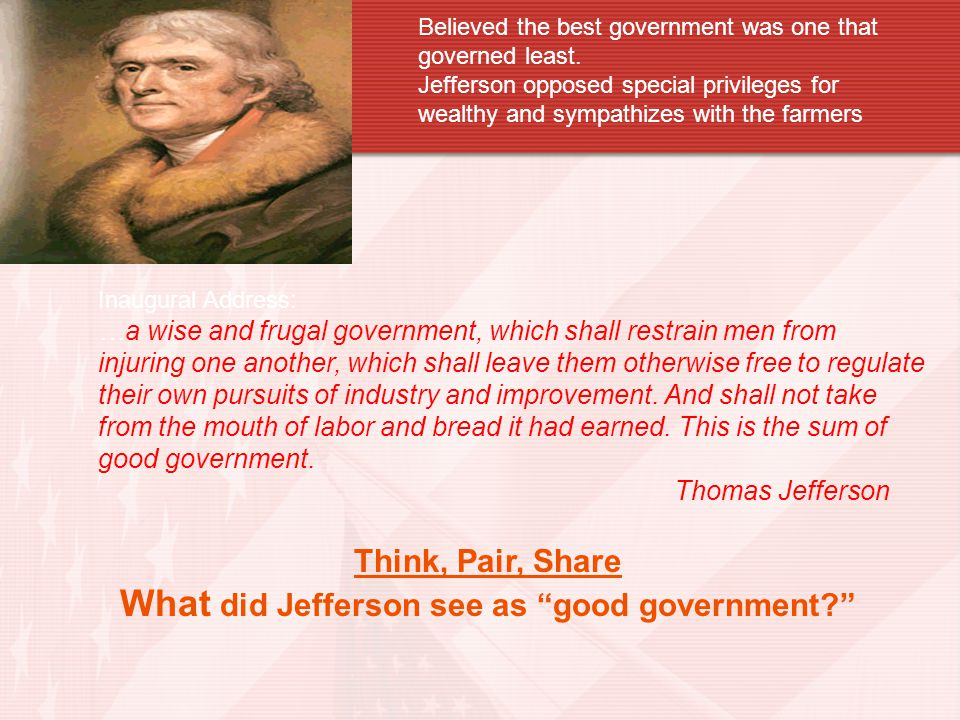 What did Jefferson see as good government