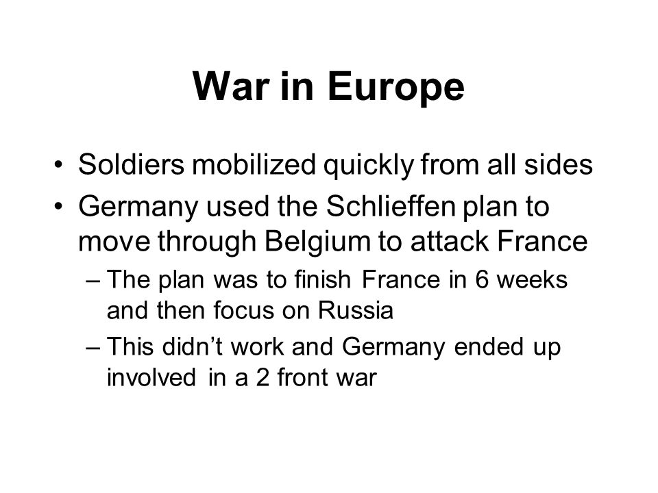 War in Europe Soldiers mobilized quickly from all sides
