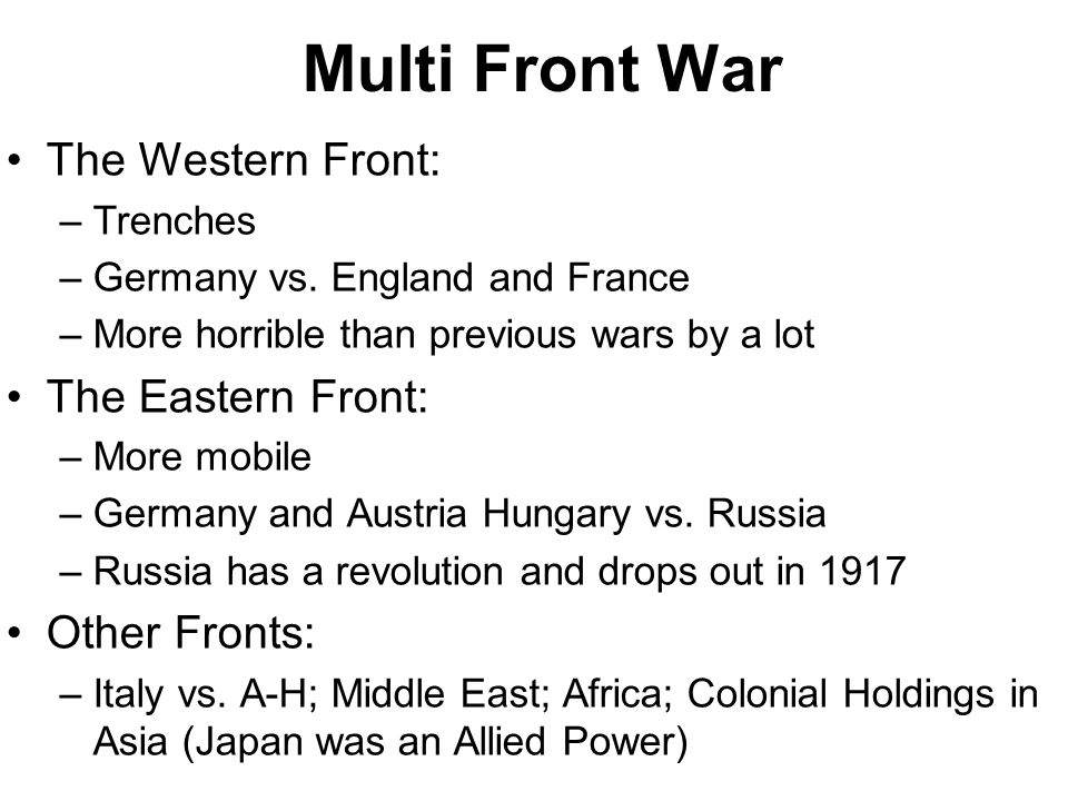 Multi Front War The Western Front: The Eastern Front: Other Fronts: