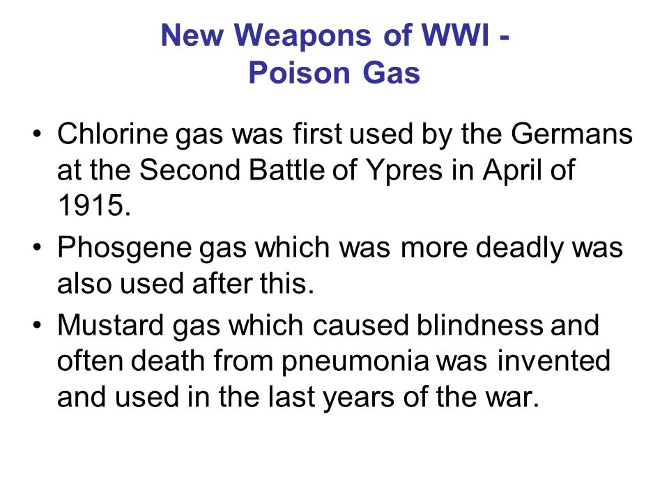 New Weapons of WWI - Poison Gas