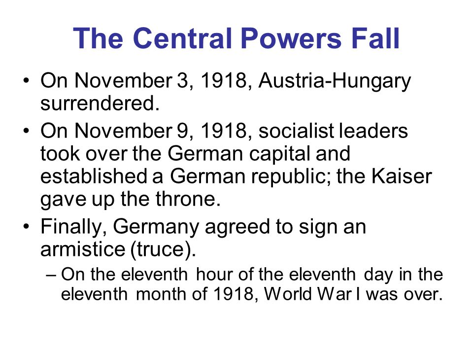 The Central Powers Fall