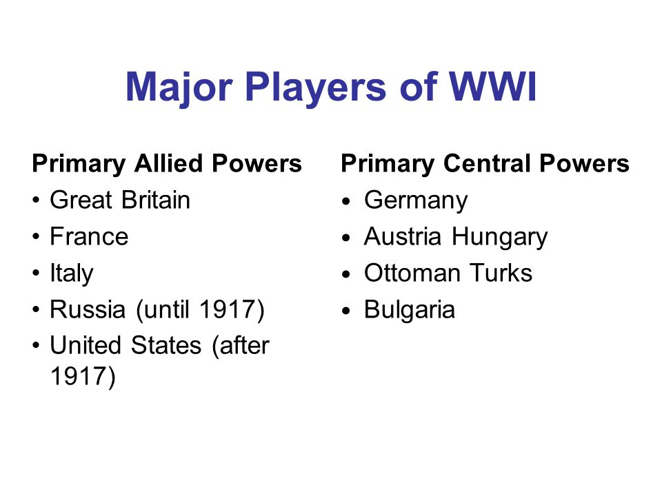 Major Players of WWI Primary Allied Powers Great Britain France Italy