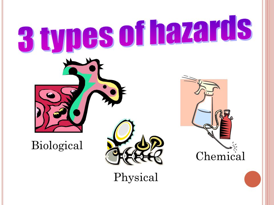 3 types of hazards Biological Chemical Physical 1• Providing Safe Food