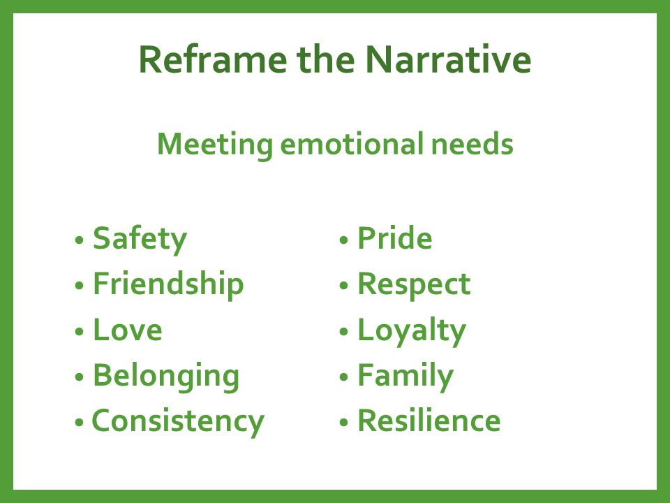Reframe the Narrative Meeting emotional needs