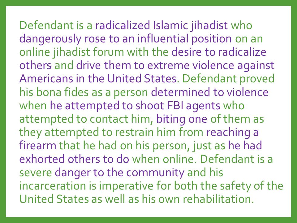 Defendant is a radicalized Islamic jihadist who dangerously rose to an influential position on an online jihadist forum with the desire to radicalize others and drive them to extreme violence against Americans in the United States.
