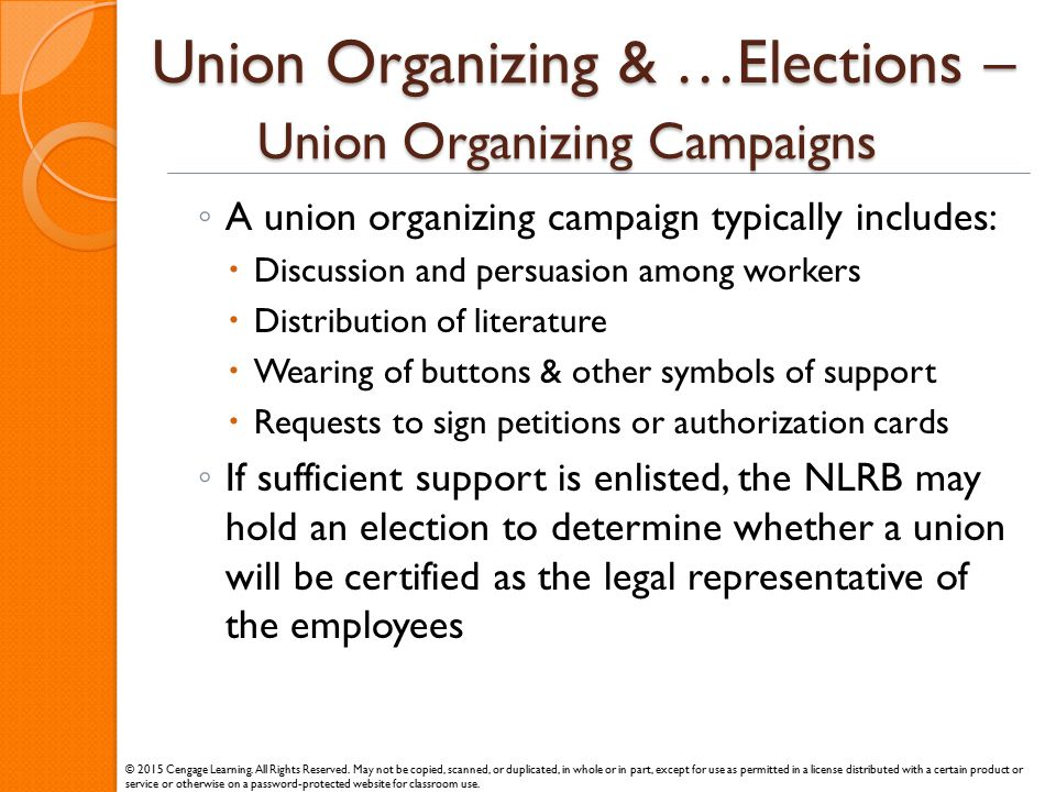 Union Organizing & …Elections – Union Organizing Campaigns