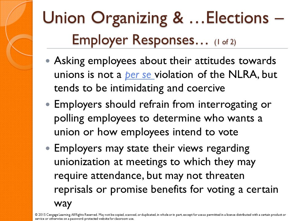 Union Organizing & …Elections – Employer Responses… (1 of 2)