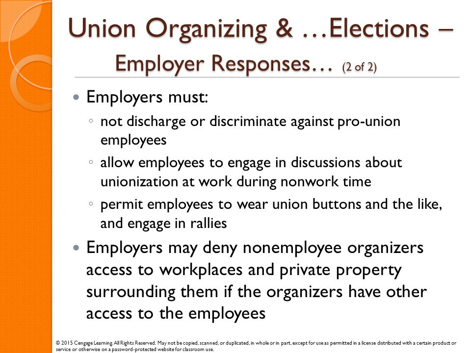 Union Organizing & …Elections – Employer Responses… (2 of 2)