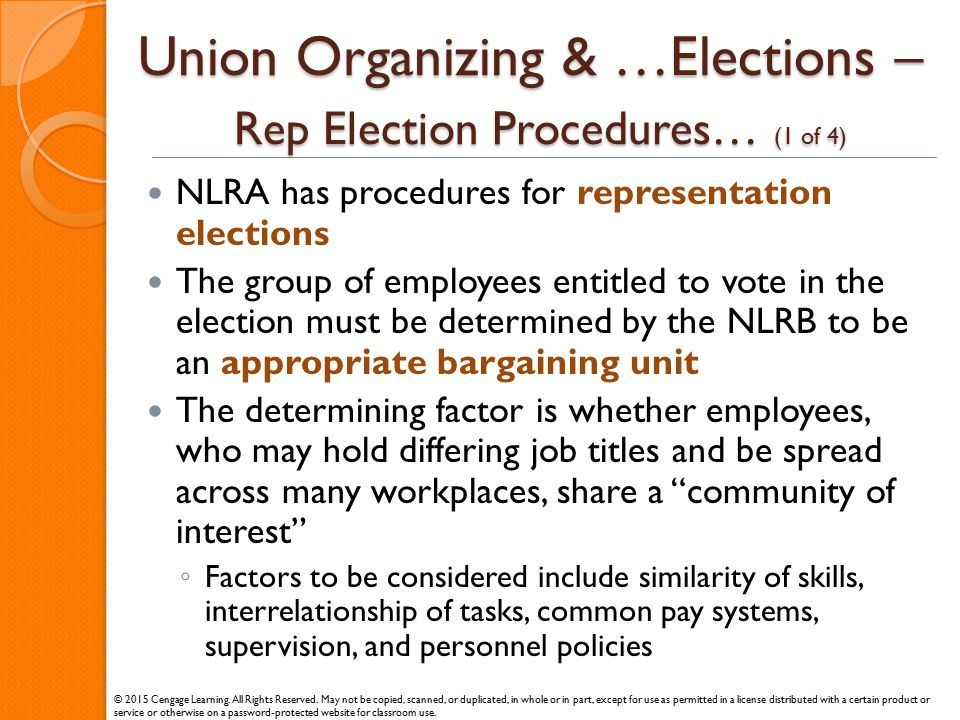 Union Organizing & …Elections – Rep Election Procedures… (1 of 4)